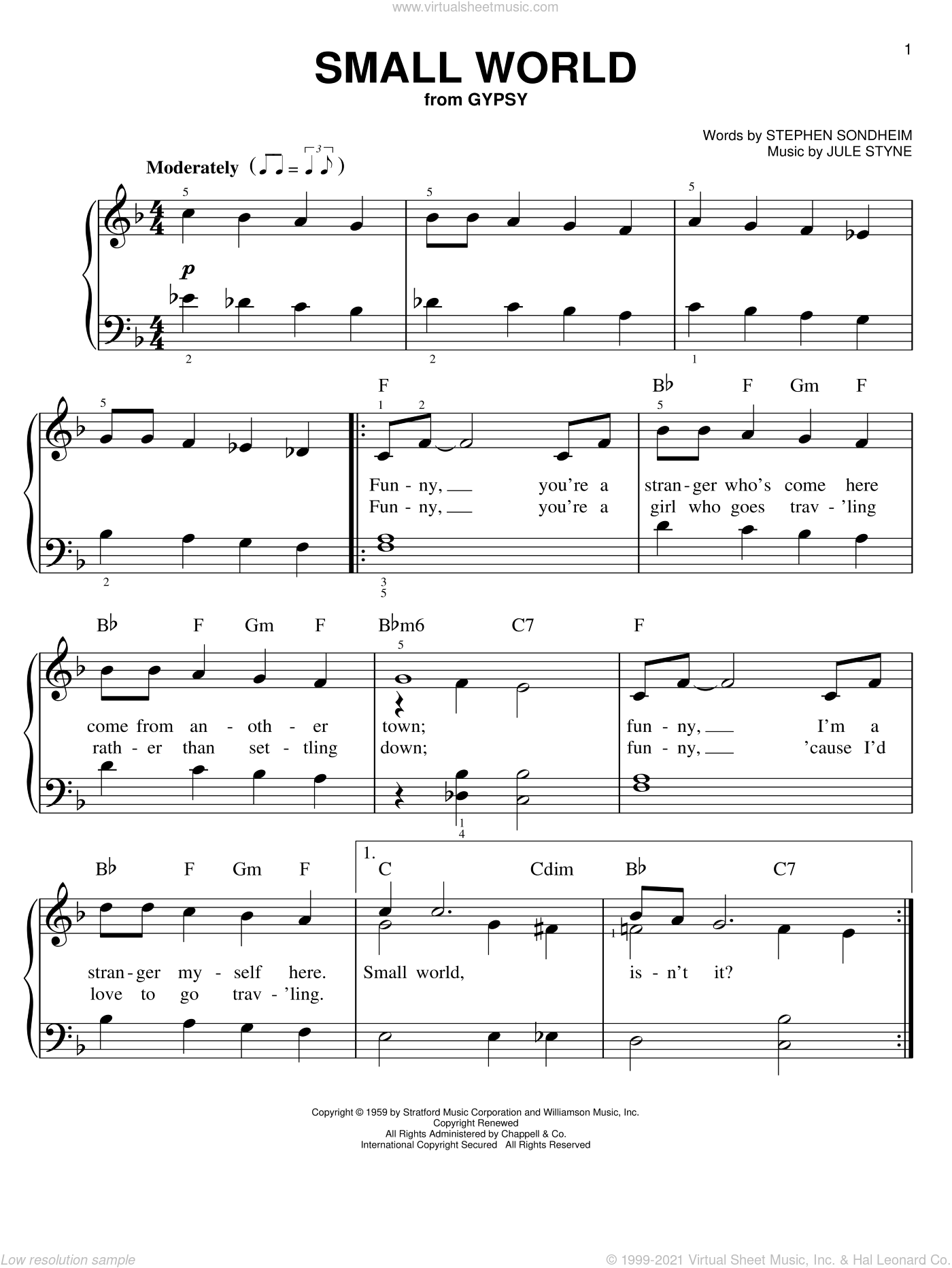 Small World sheet music for piano solo by Jule Styne and Stephen Sondheim. Score Image Preview.