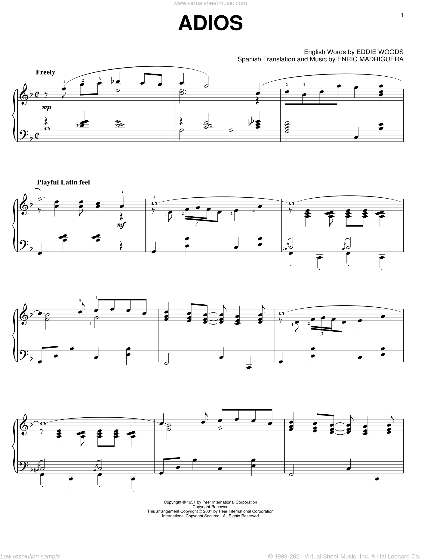 Adios sheet music for piano solo by Enric Madriguera, Astor Piazzolla and Perez Prado. Score Image Preview.