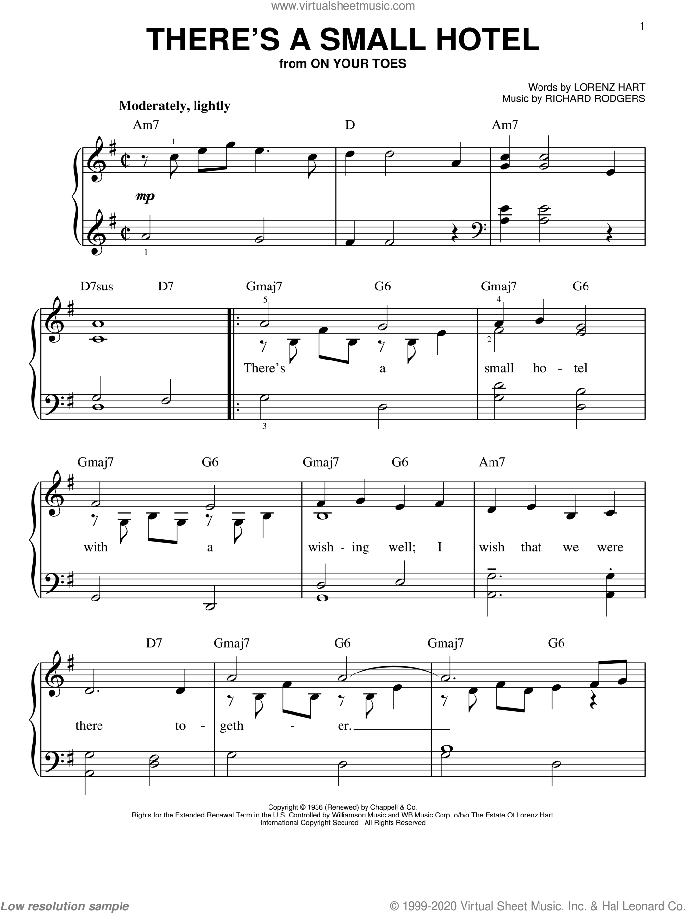 There's A Small Hotel sheet music for piano solo by Richard Rodgers, Rodgers & Hart, Sammy Davis Jr. and Lorenz Hart. Score Image Preview.