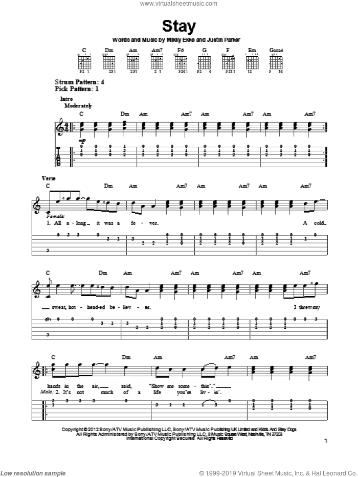 Stay sheet music for guitar solo (easy tablature) by Rihanna. Score Image Preview.