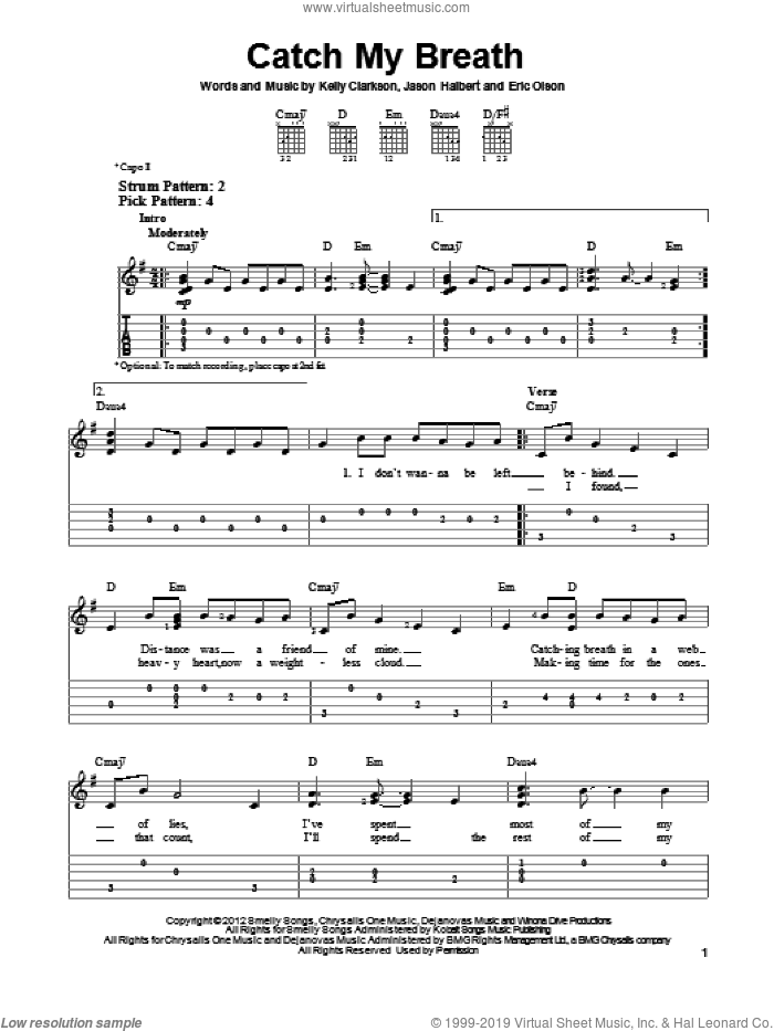 Catch My Breath sheet music for guitar solo (easy tablature) by Kelly Clarkson
