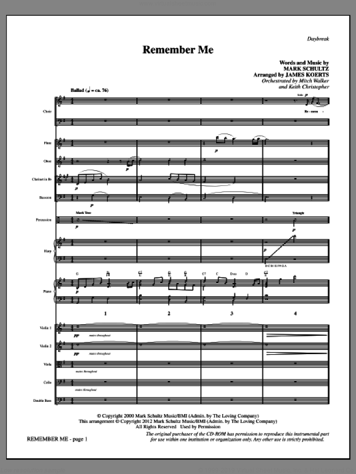 Remember Me (COMPLETE) sheet music for orchestra/band by Mark Schultz and James Koerts, intermediate skill level