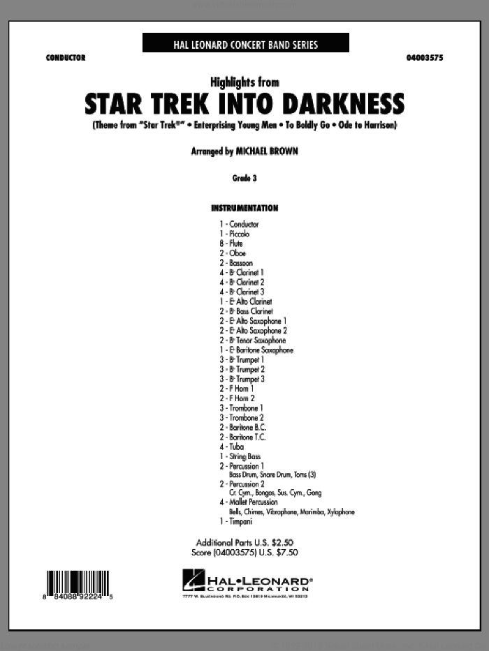Highlights from Star Trek Into Darkness (COMPLETE) sheet music for concert band by Michael Giacchino and Michael Brown, classical score, intermediate skill level