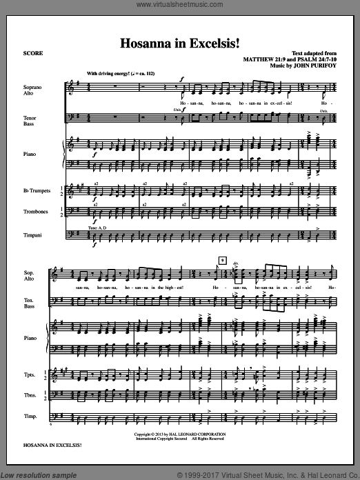 Hosanna in Excelsis! (COMPLETE) sheet music for orchestra by John Purifoy