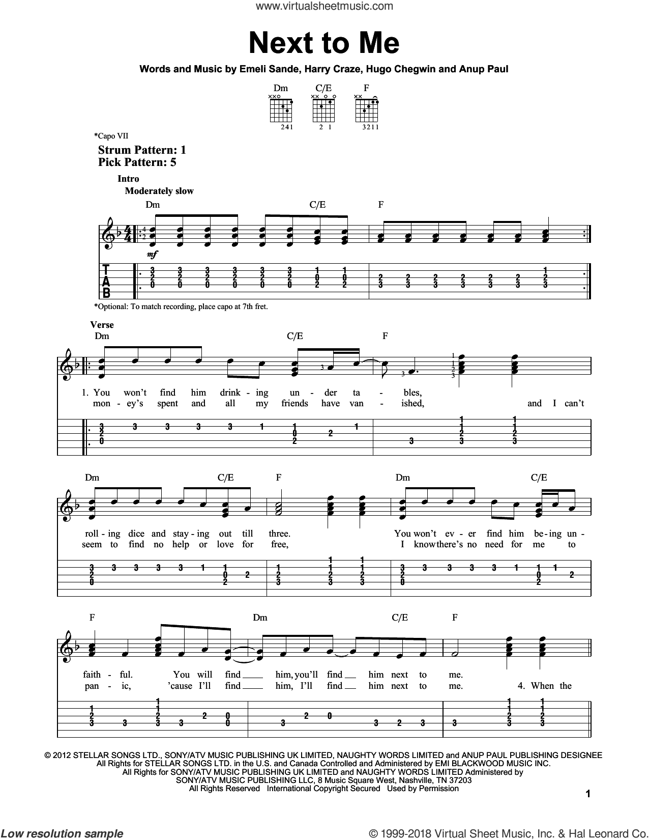 Next To Me sheet music for guitar solo (easy tablature) by Emeli Sande. Score Image Preview.
