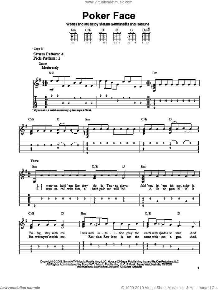 Poker Face sheet music for guitar solo (easy tablature) by Lady Gaga. Score Image Preview.