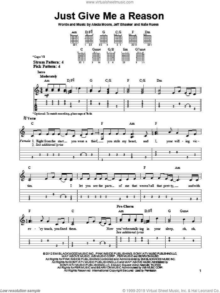 Just Give Me A Reason sheet music for guitar solo (easy tablature) by Pink featuring Nate Ruess