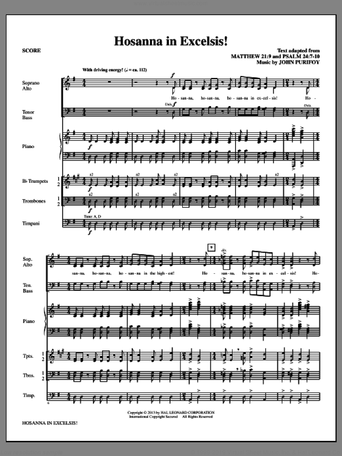 Hosanna in Excelsis! (COMPLETE) sheet music for orchestra/band by John Purifoy, intermediate orchestra/band. Score Image Preview.