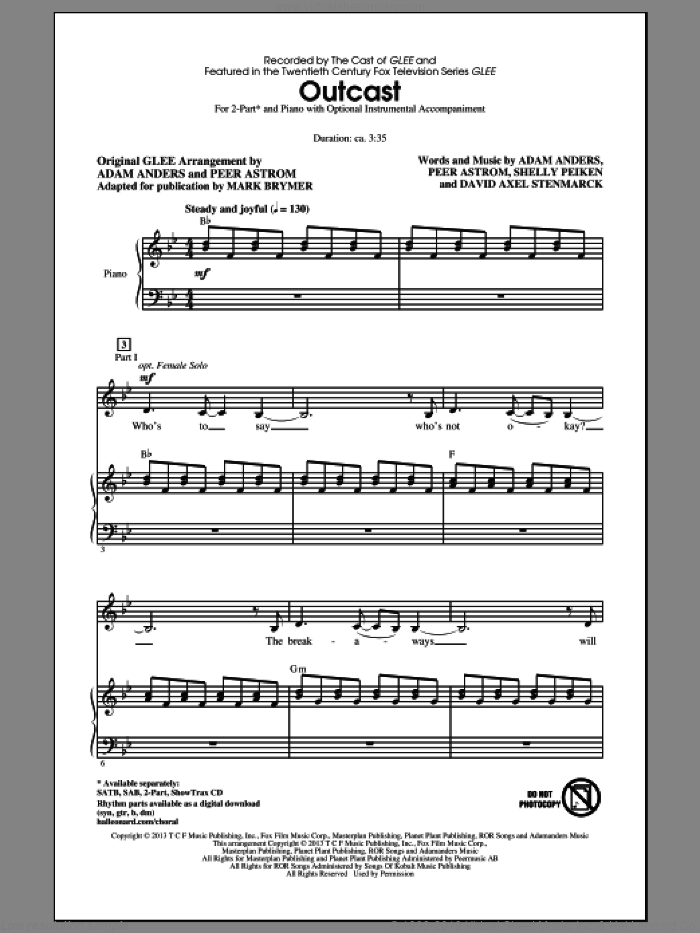 Outcast sheet music for choir (duets) by Mark Brymer and Glee Cast. Score Image Preview.