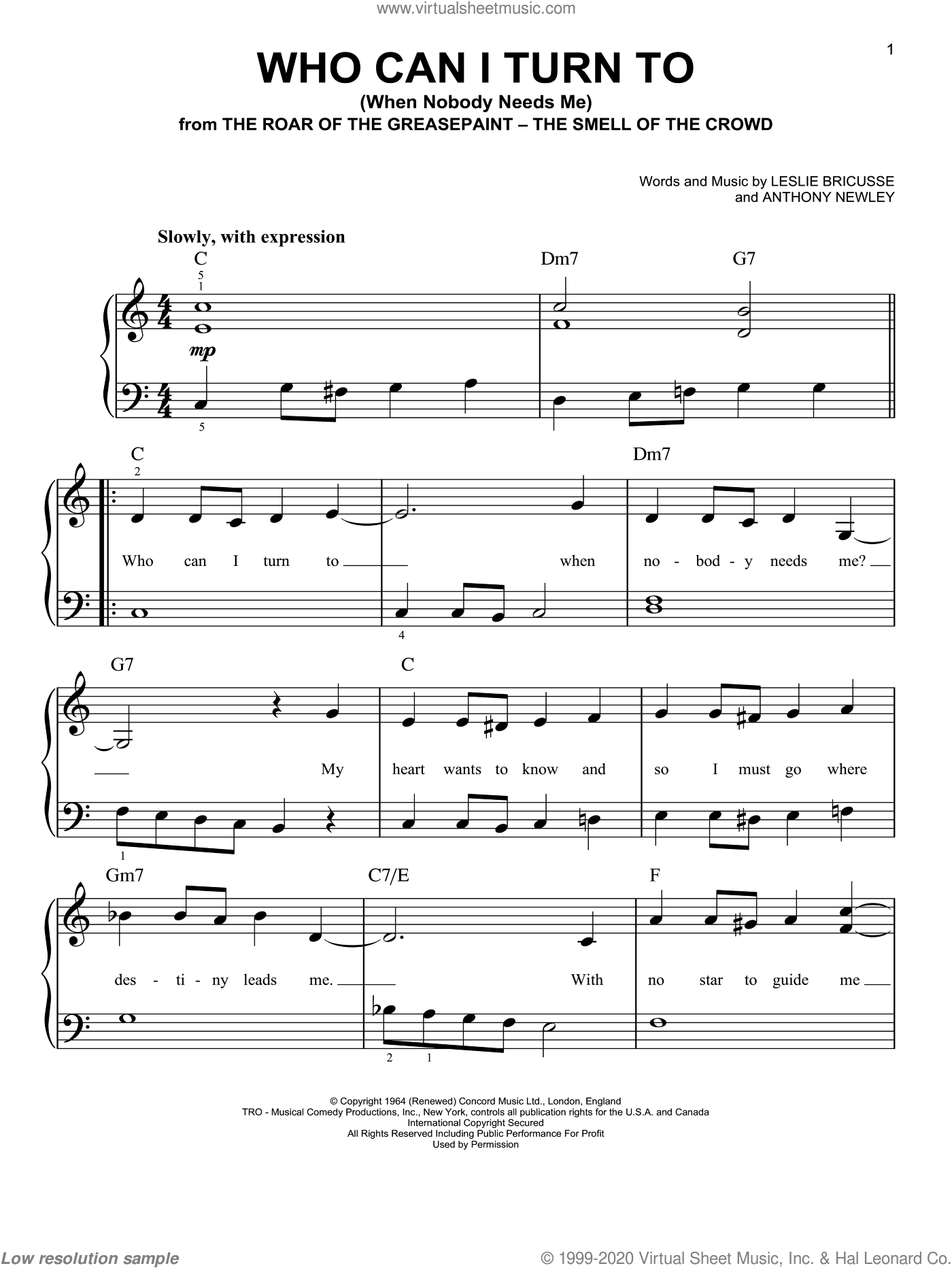 Who Can I Turn To (When Nobody Needs Me) sheet music for piano solo by Leslie Bricusse, Tony Bennett and Anthony Newley. Score Image Preview.