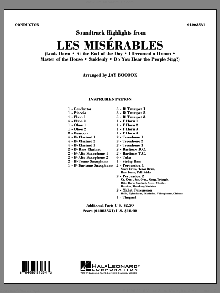 Soundtrack Highlights from Les Miserables (COMPLETE) sheet music for concert band by Jay Bocook, intermediate skill level