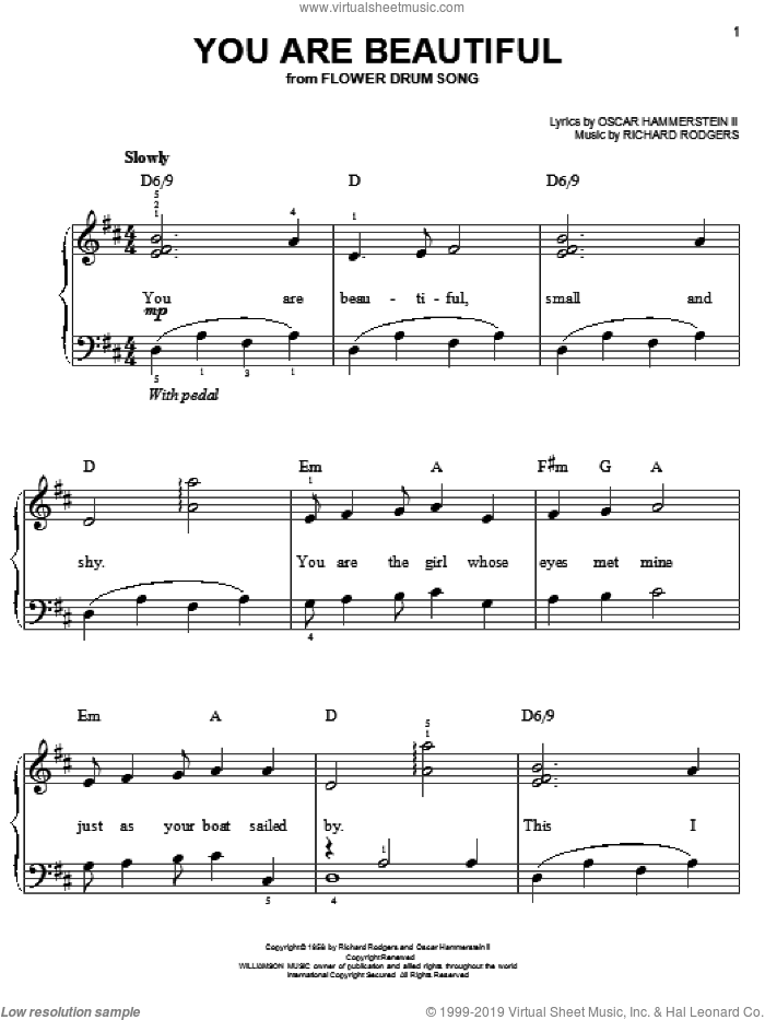 You Are Beautiful sheet music for piano solo by Rodgers & Hammerstein, Oscar II Hammerstein and Richard Rodgers, wedding score, easy skill level