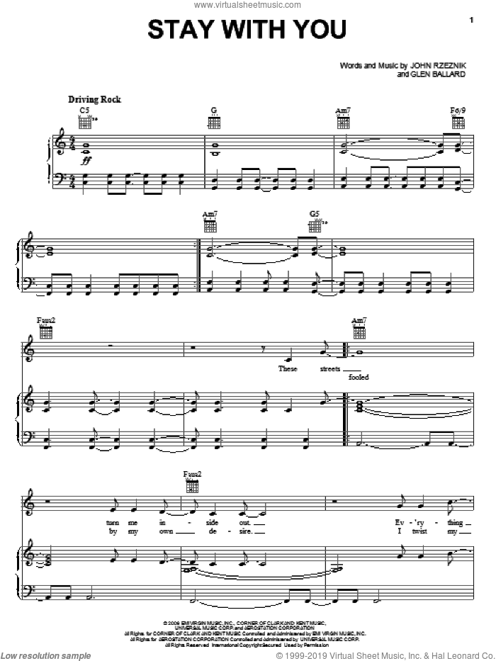 Stay With You sheet music for voice, piano or guitar by Goo Goo Dolls, Glen Ballard and John Rzeznik, intermediate. Score Image Preview.