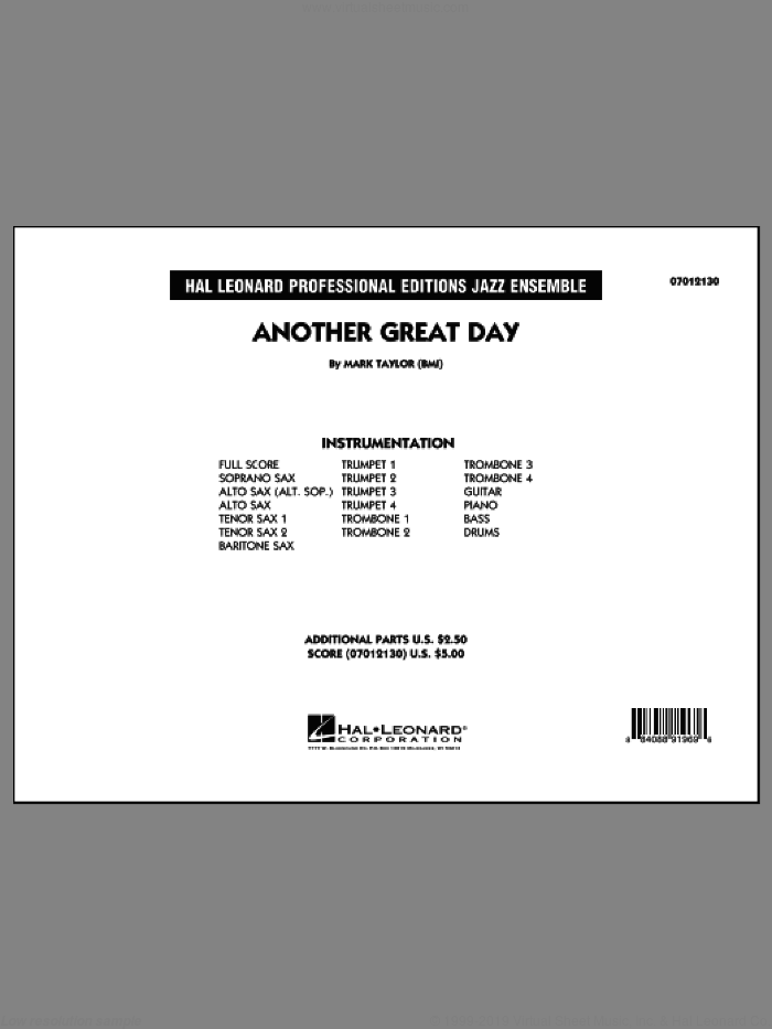 Another Great Day (COMPLETE) sheet music for jazz band by Mark Taylor, intermediate. Score Image Preview.
