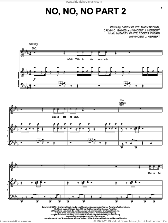 No, No, No Part II sheet music for voice, piano or guitar by Vincent J. Herbert, Barry White and Mary Brown. Score Image Preview.