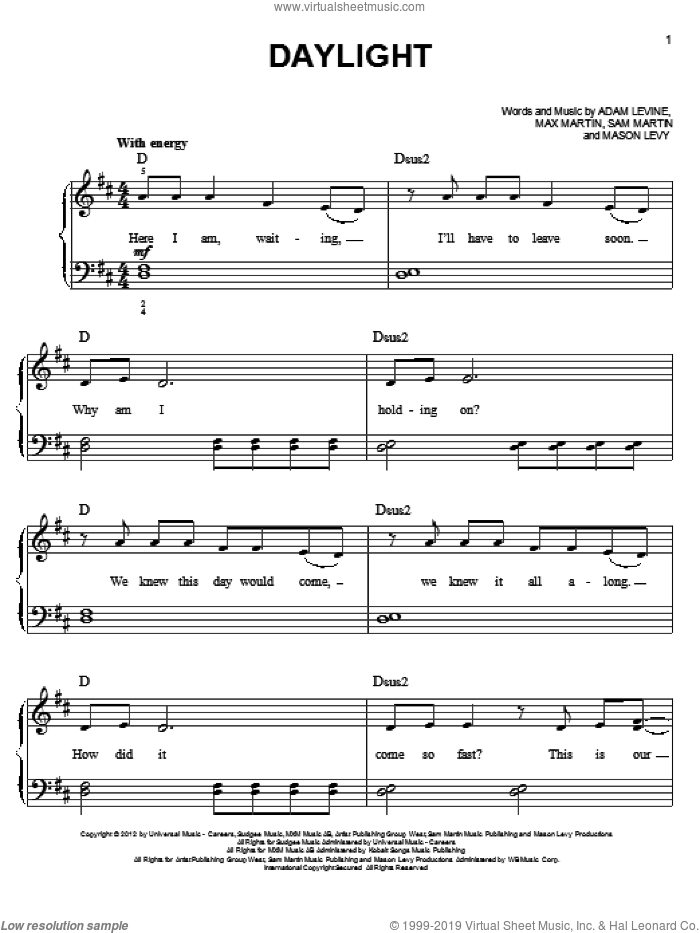Daylight, (easy) sheet music for piano solo by Maroon 5, easy