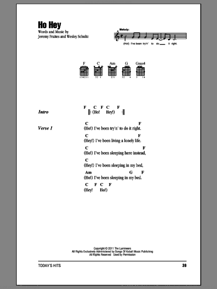 Ho Hey sheet music for guitar (chords, lyrics, melody) by The Lumineers