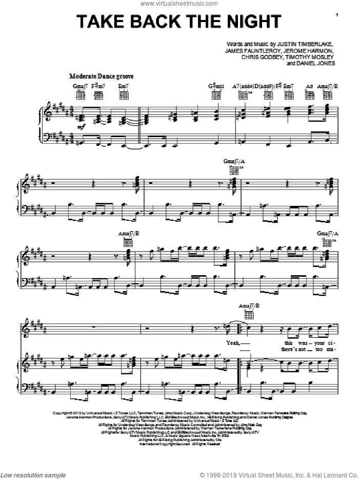 Take Back The Night sheet music for voice, piano or guitar by Justin Timberlake. Score Image Preview.