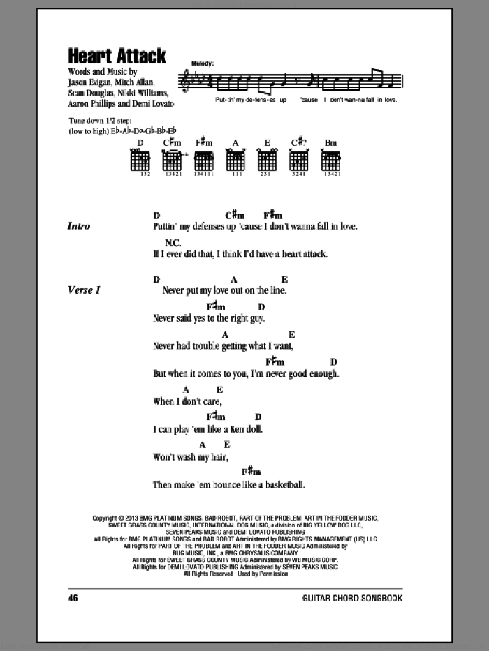 Heart Attack sheet music for guitar (chords) by Demi Lovato, intermediate skill level