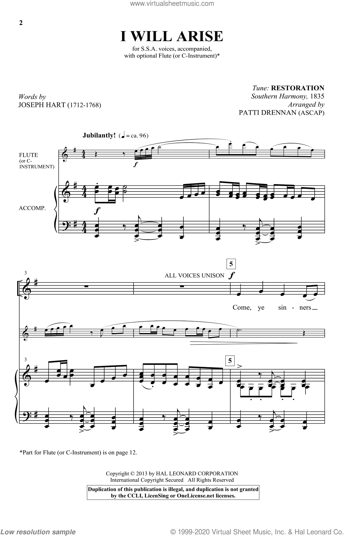 I Will Arise sheet music for choir and piano (SSA) by Patti Drennan. Score Image Preview.