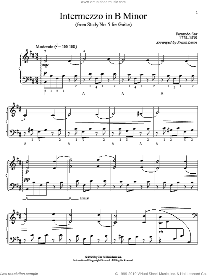 Intermezzo In B Minor sheet music for piano solo (elementary) by Frank Levin