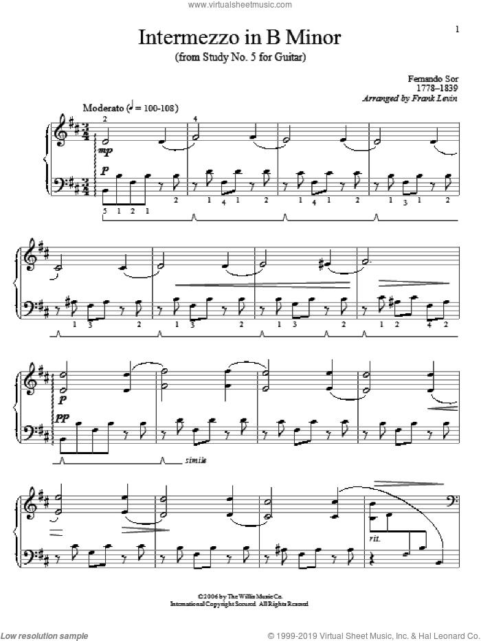 Intermezzo In B Minor sheet music for piano solo (elementary) by Frank Levin and Fernando Sor, classical score, beginner piano (elementary)