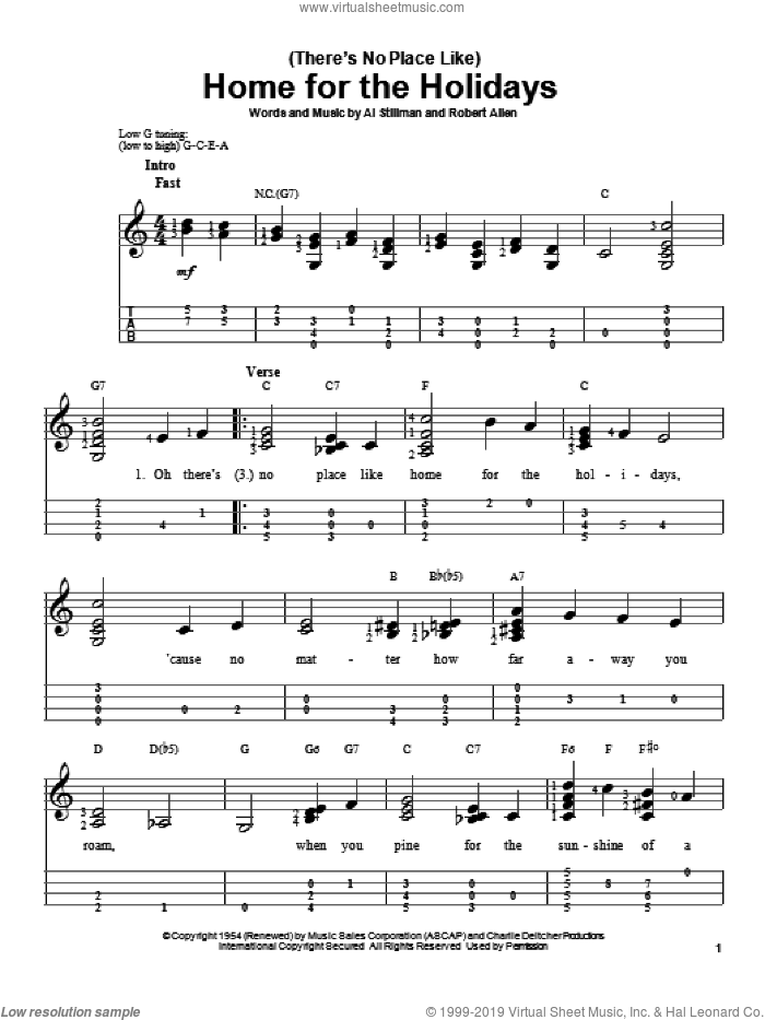 (There's No Place Like) Home For The Holidays sheet music for ukulele by Perry Como, Al Stillman and Robert Allen, intermediate. Score Image Preview.