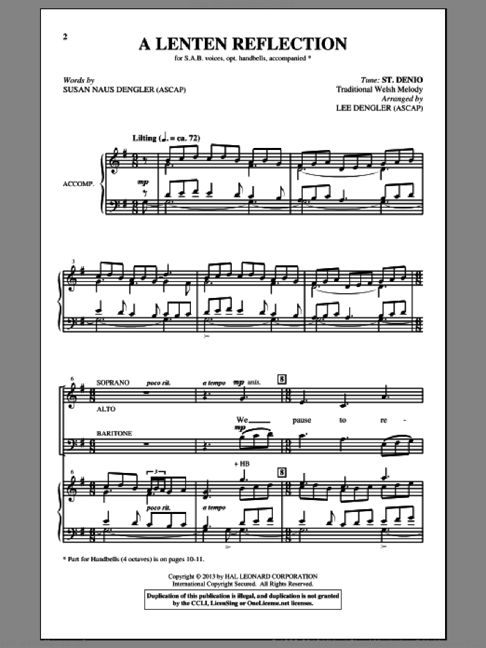 A Lenten Reflection sheet music for choir and piano (SATB) by Susan Naus Dengler