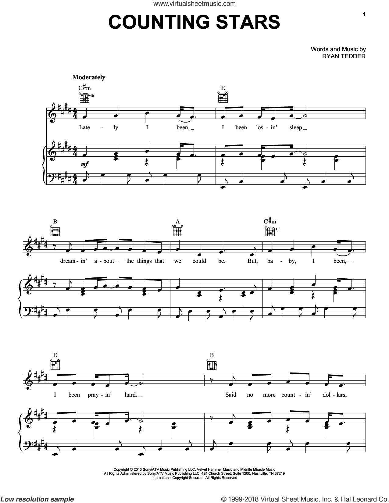 Counting Stars sheet music for voice, piano or guitar by OneRepublic. Score Image Preview.
