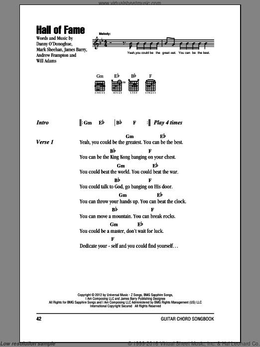 Hall Of Fame sheet music for guitar (chords) by The Script featuring will.i.am. Score Image Preview.