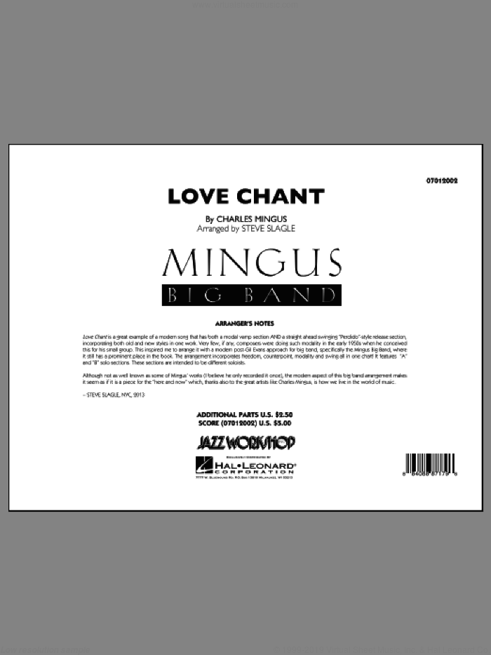 Love Chant (COMPLETE) sheet music for jazz band by Charles Mingus and Steve Slagle, intermediate skill level