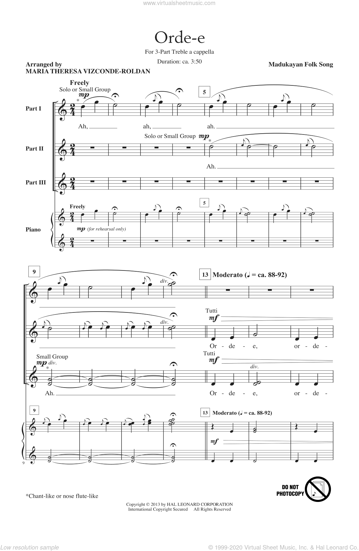 Orde-E sheet music for choir and piano (chamber ensemble) by Maria Theresa Vizconde-Roldan
