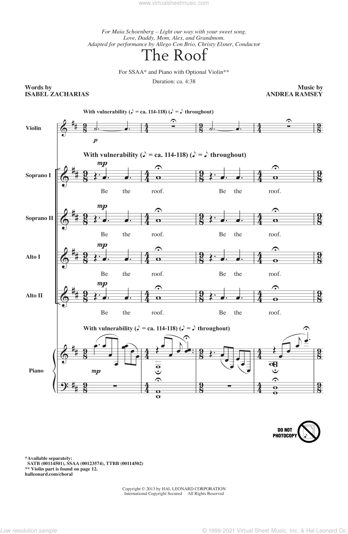 The Roof sheet music for choir and piano (SSA) by Andrea Ramsey