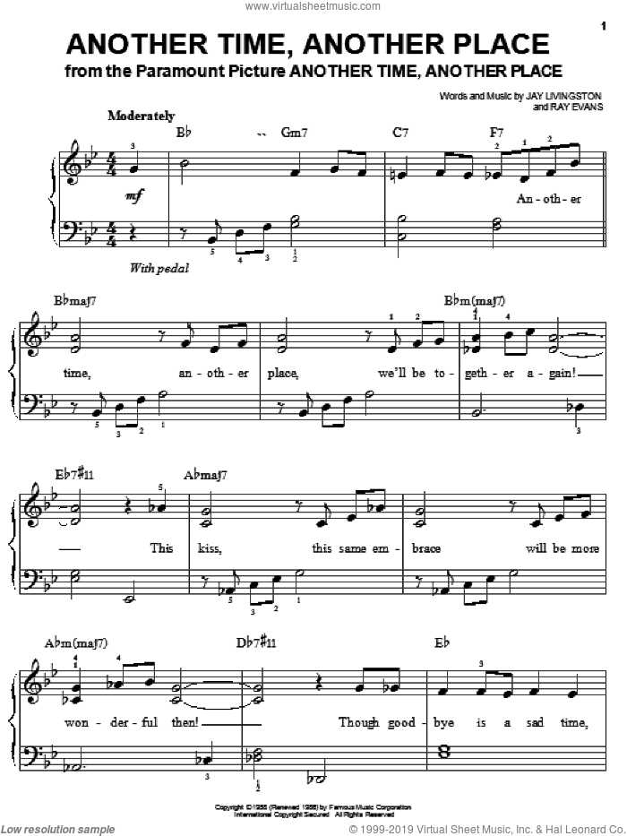 Another Time, Another Place sheet music for piano solo by Jay Livingston and Ray Evans, easy skill level