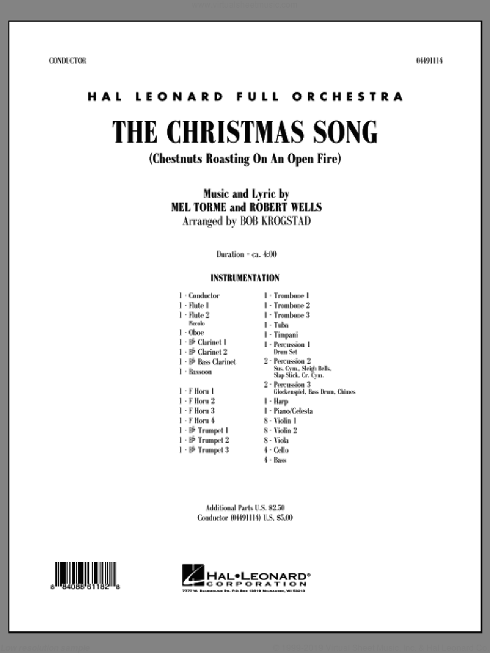 The Christmas Song (Chestnuts Roasting on an Open Fire) (COMPLETE) sheet music for full orchestra by Mel Torme and Bob Krogstad, intermediate skill level
