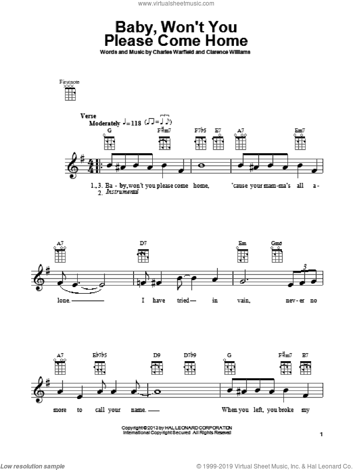Baby, Won't You Please Come Home sheet music for ukulele by Bessie Smith, intermediate. Score Image Preview.