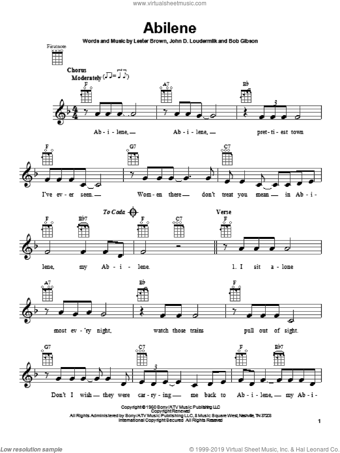 Abilene sheet music for ukulele by George Hamilton IV, intermediate ukulele. Score Image Preview.