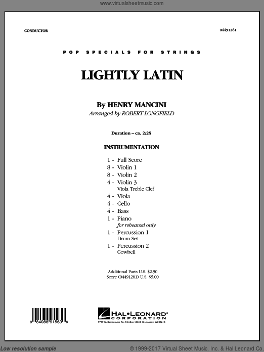Lightly Latin (COMPLETE) sheet music for orchestra by Henry Mancini