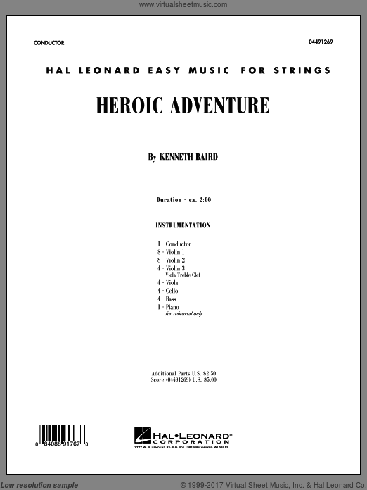 Heroic Adventure (COMPLETE) sheet music for orchestra by Kenneth Baird