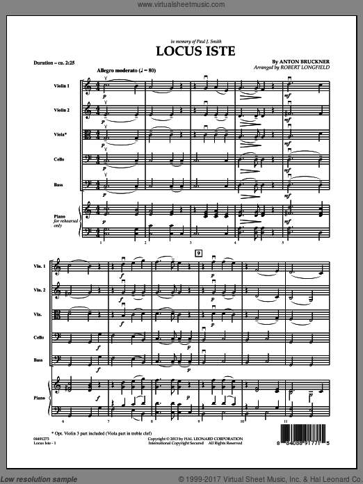 Locus Iste (COMPLETE) sheet music for orchestra by Anton Bruckner