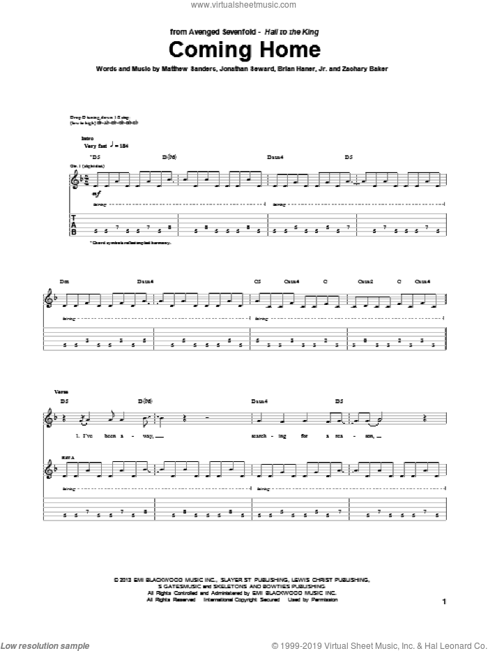 Coming Home sheet music for guitar (tablature) by Avenged Sevenfold