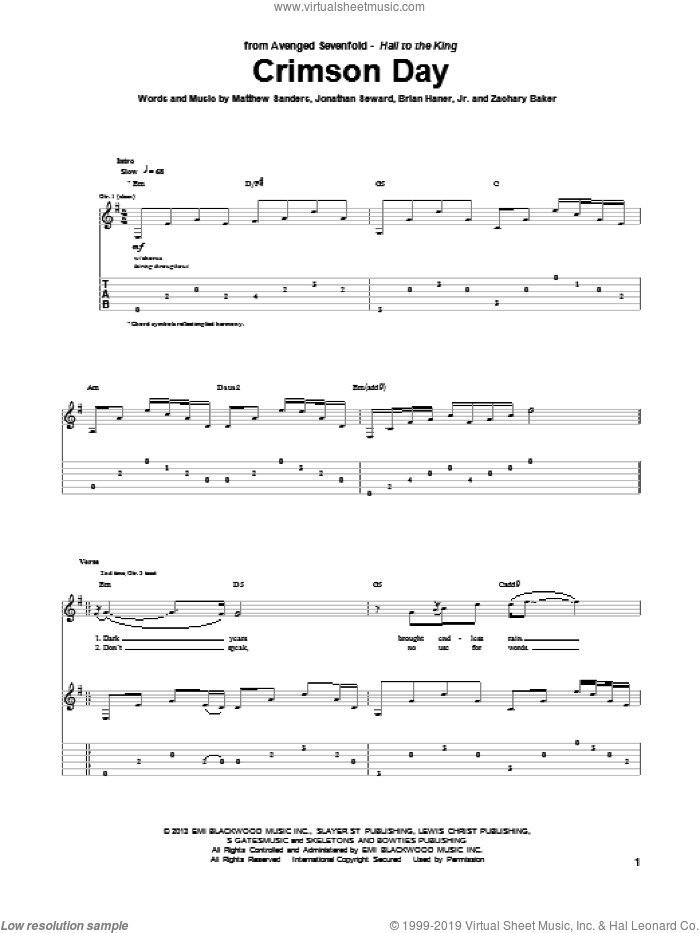Crimson Day sheet music for guitar (tablature) by Avenged Sevenfold. Score Image Preview.
