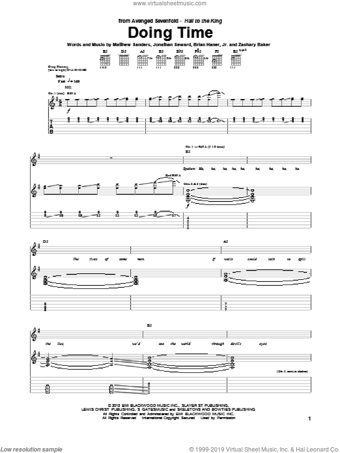 Doing Time sheet music for guitar (tablature) by Avenged Sevenfold, intermediate skill level