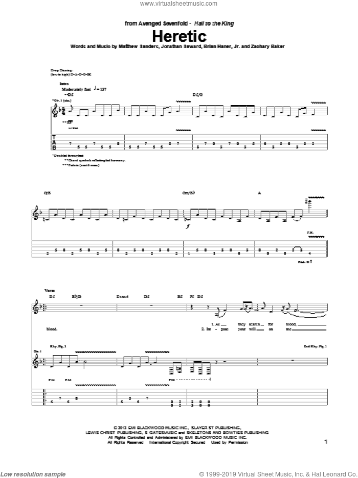 Heretic sheet music for guitar (tablature) by Avenged Sevenfold