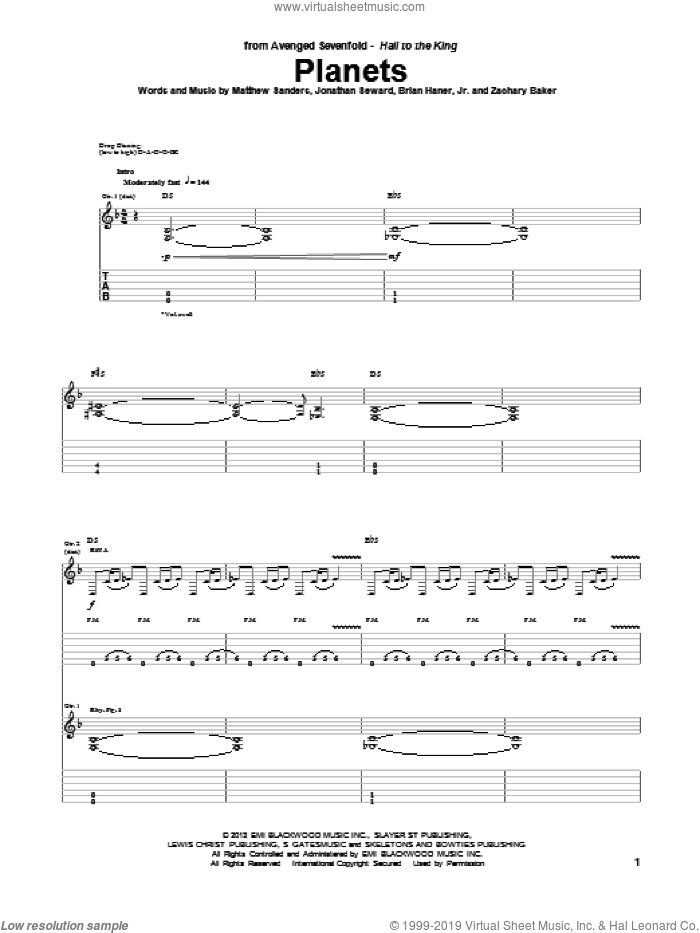 Planets sheet music for guitar (tablature) by Avenged Sevenfold, intermediate. Score Image Preview.