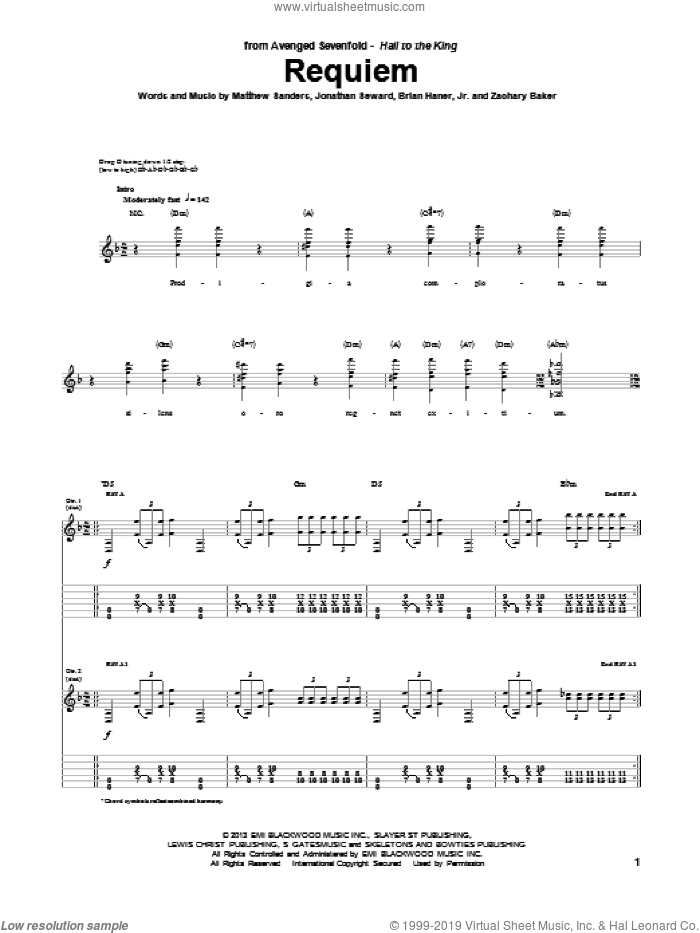 Requiem sheet music for guitar (tablature) by Avenged Sevenfold