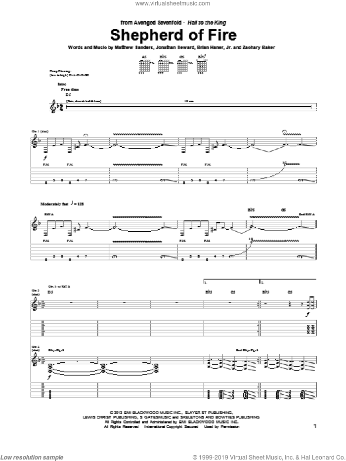 Shepherd Of Fire sheet music for guitar (tablature) by Avenged Sevenfold, intermediate. Score Image Preview.
