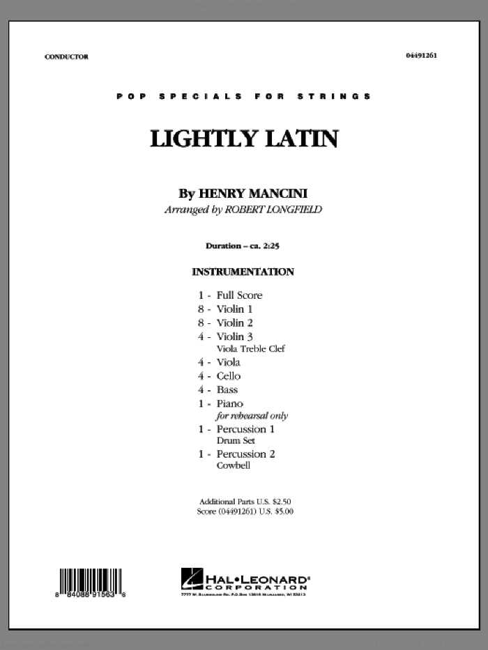 Lightly Latin (COMPLETE) sheet music for orchestra by Henry Mancini and Robert Longfield, intermediate