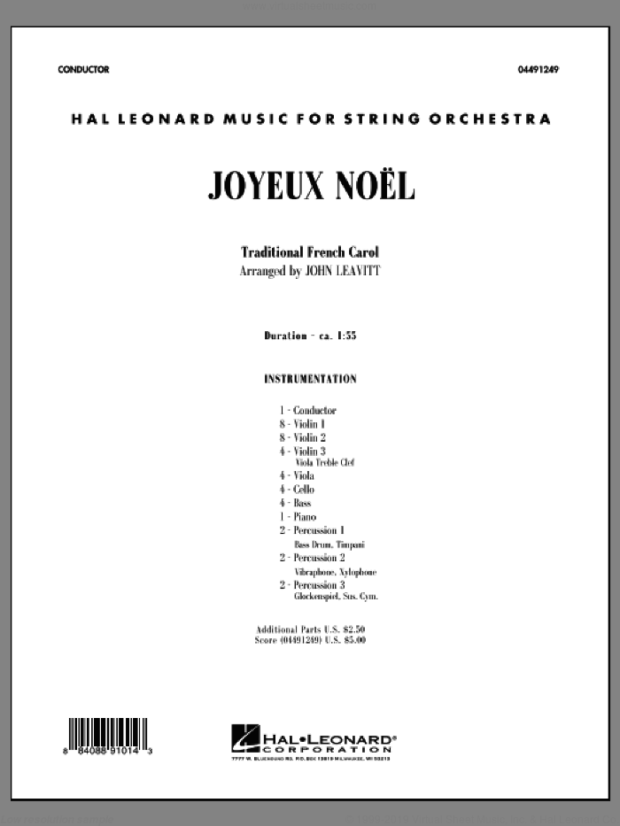 Joyeux Noel (COMPLETE) sheet music for orchestra by John Leavitt, intermediate. Score Image Preview.