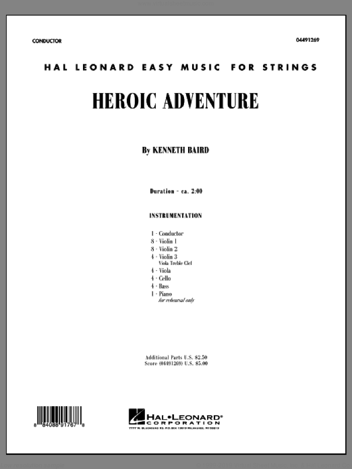 Heroic Adventure (COMPLETE) sheet music for orchestra by Kenneth Baird, classical score, intermediate. Score Image Preview.